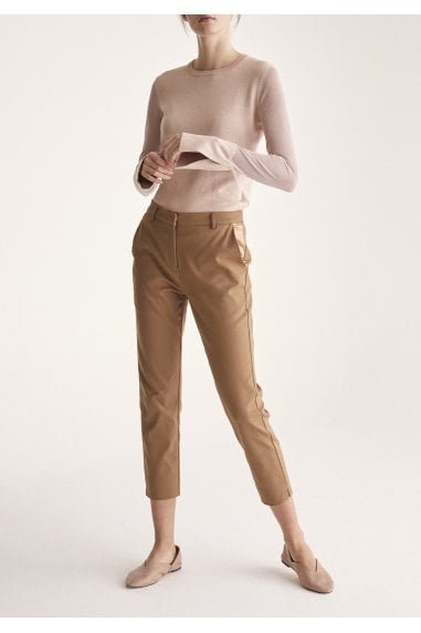 Soft Knitted Top with Sheer Sleeves and Cuff Splits in Blush