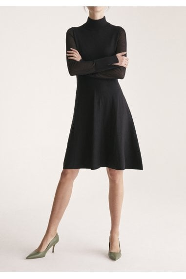 High Neck Skater Dress with Sheer Sleeves and Cuff Splits in Black