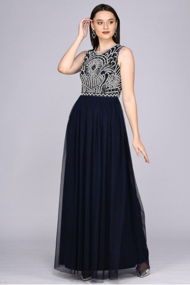 Angie Drop Waist Maxi Dress in Navy Blue