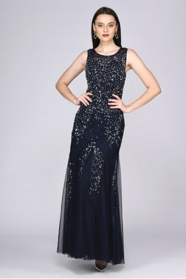 Anna Illusion Neckline Maxi Dress in Navy