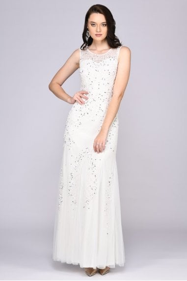 Anna Illusion Neckline Wedding Gown in White
