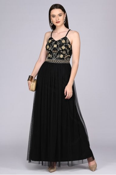 Lilly Drop Waist Maxi Dress in Black Gold