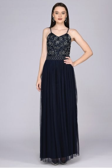 Lilly Drop Waist Maxi Dress in Navy
