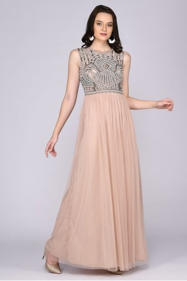 Selena Drop Waist Halter Neck Maxi Dress in Nude Blush