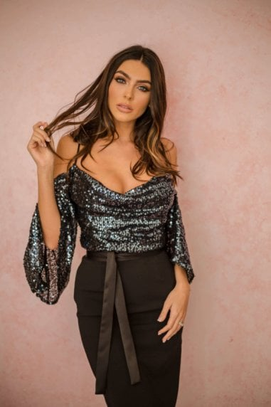 Kiara Sequin Drop Shoulder Dress Gunmetal