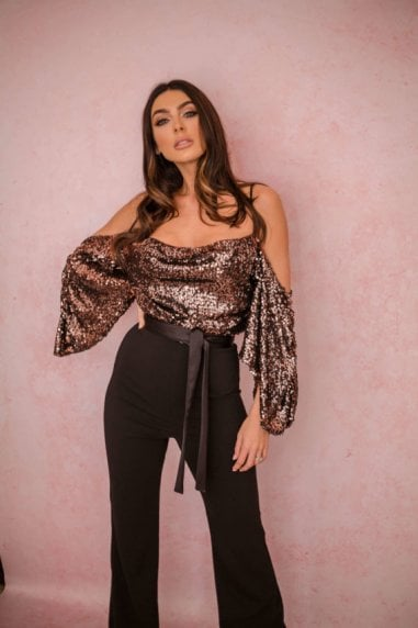 Kiara Sequin Drop Shoulder Jumpsuit Rose Gold