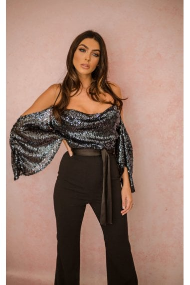 Kiara Sequin Drop Shoulder Jumpsuit Gunmetal