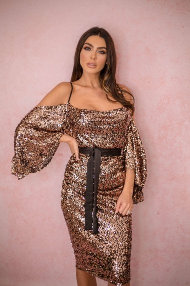 Liliana Full Sequin Drop Shoulder Midi Dress Rose Gold