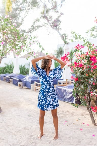Blue & White Short Floral Wrap Dress