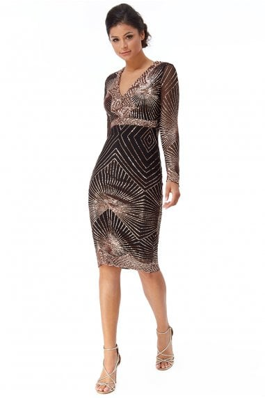 Goddiva Scalloped Hem Starburst Midi Dress - Rosegold