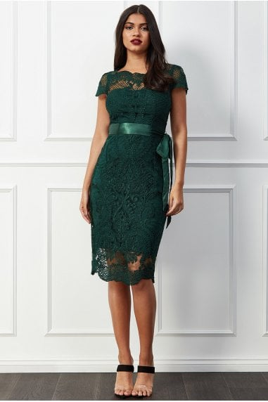 Goddiva Scallop Hem Lace Midi Dress - Emerald