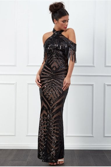 Goddiva Fringe Collar Sequin Maxi Dress - Black