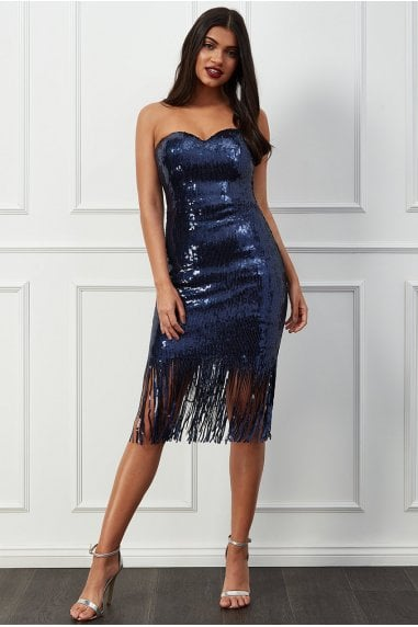 Goddiva Sequin Fringe Bandeau Midi Dress - Navy