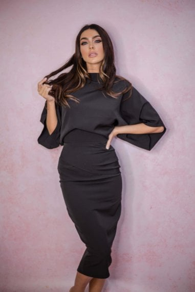 Esme Off Shoulder Ruched Bodycon Dress Black