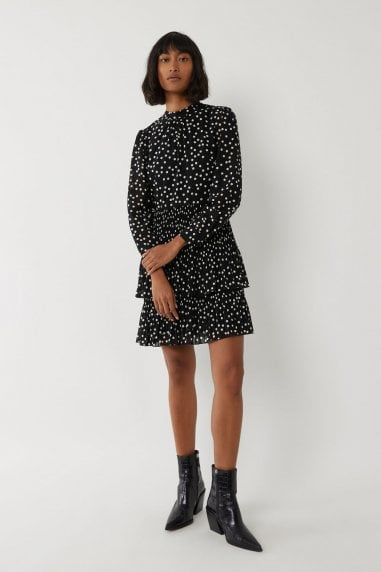 Micro Pleat Spot Tired Dress
