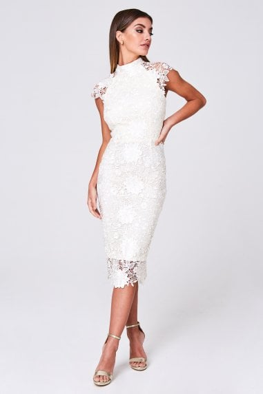Aspen Cream Sequin Crochet Lace Midi Dress