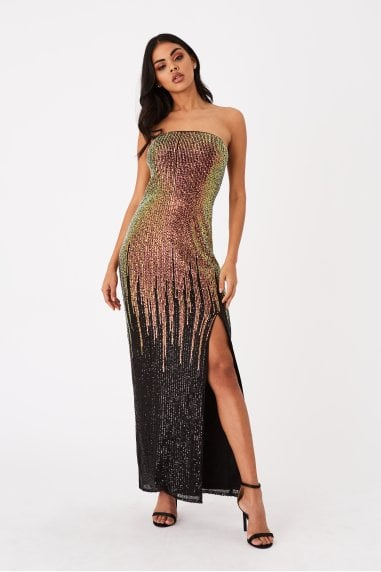 Roka Gold Sequin Ombre Bandeau Maxi Dress