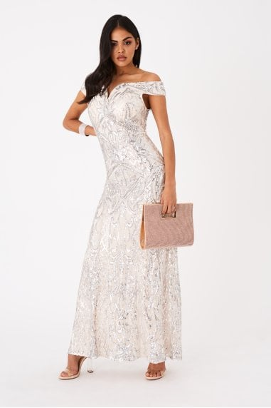 Shard Nude Sequin Bardot Maxi Dress