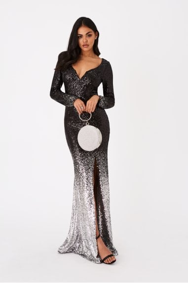 Zuma Black Sequin Ombre Maxi Dress