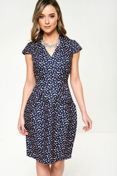 Heart Print Dress in Navy