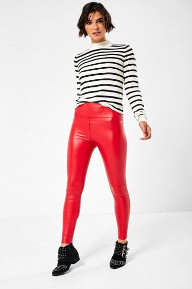 Hana High Waist Fleece Lined Wet Look Leggings in Red