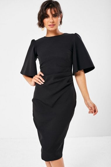Elliot Pleated Pencil Dress in Black