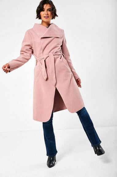 Faith Belted Wrap Coat in Blush