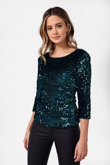 Patsy Sequin Top in Teal