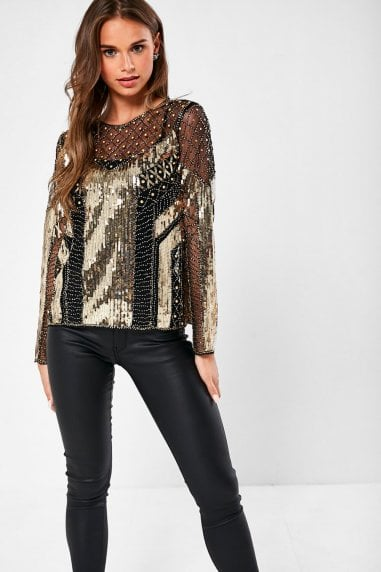 Alexander Sheer Sequin Top in Black and Gold