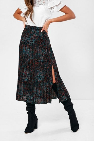 Dakota Pleated Skirt in Green Animal Print