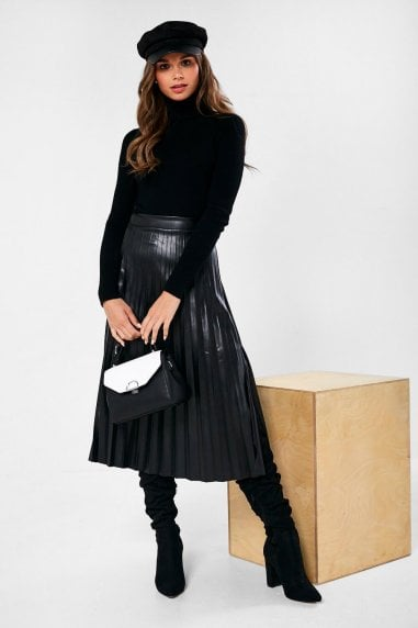 Faroe Faux Leather Pleated Skirt in Black