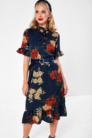 Emerson Floral Midi Dress in Navy