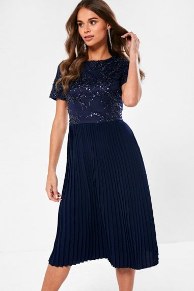 Ariel Sequin Detail Occasion Dress in Navy