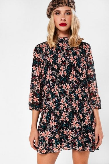 Jaden Pleated Floral Tunic Dress in Black