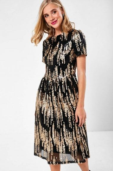 Lauren Sequin Occasion Dress in Gold and Black