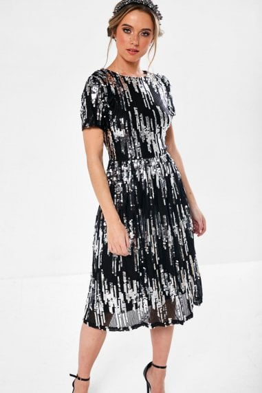 Lauren Sequin Occasion Dress in Silver and Black