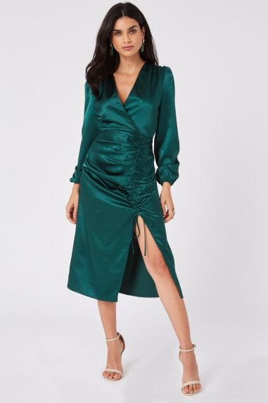 Margarita Dark Green Satin Ruched Midi Dress
