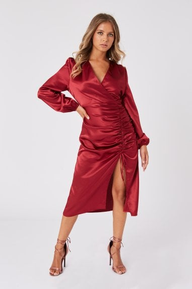 Margarita Burgundy Satin Ruched Midi Dress
