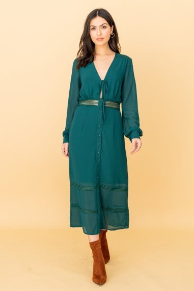 The Kipling, Lacetrim Midi Dress in Green
