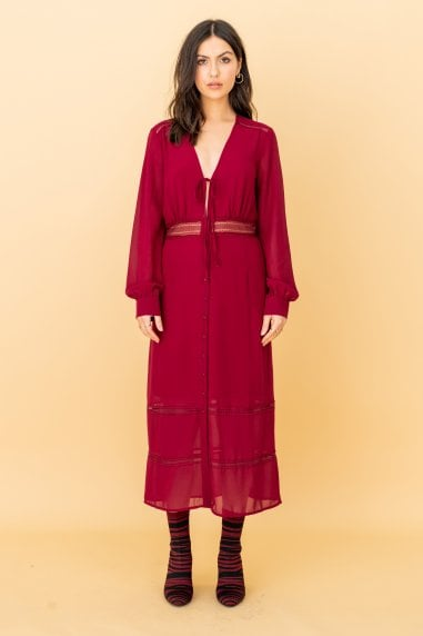 The Kipling, Lacetrim Midi Dress in Burgundy