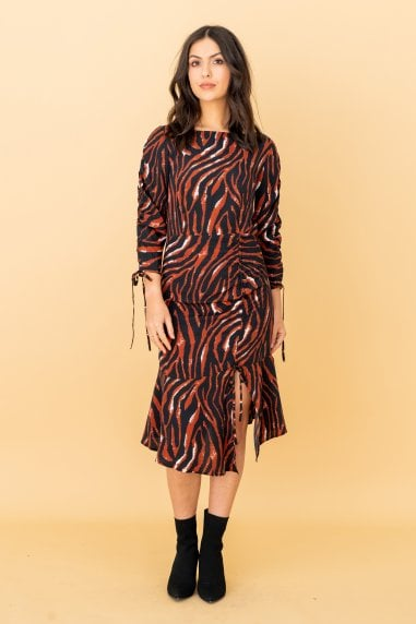 Brown Zebra Print Ruched Mini Dress