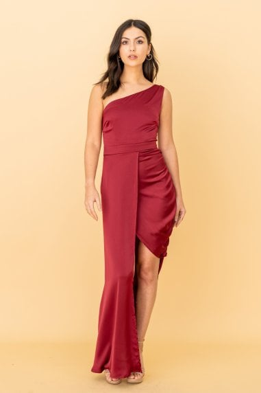 The Garner, One Shoulder Dress with Side Gather Detail in Burgundy