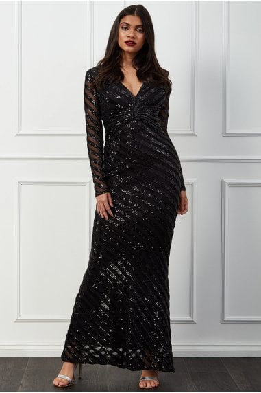 Goddiva Sequin Stripe Front Bow Maxi Dress - Black