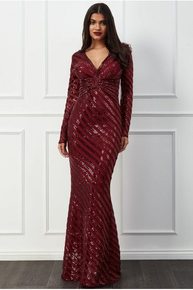 Goddiva Sequin Stripe Front Bow Maxi Dress - Wine