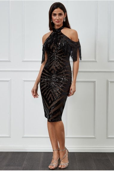 Goddiva Fringe Collar Sequin Midi Dress - Black
