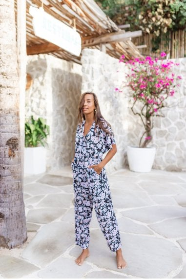 White Floral Print Full Length jumpsuit