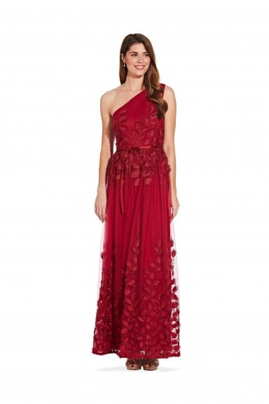Shirred One Shoulder Ball Gown