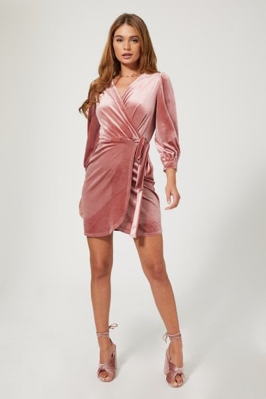 Harling Rose Velvet Mini Wrap Dress