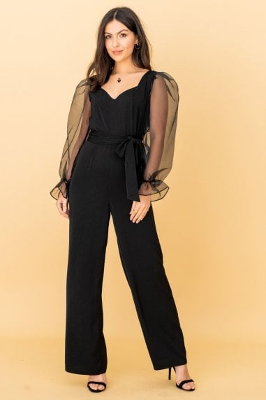 Side Tie Organza Sleeve Jumpsuit in Black