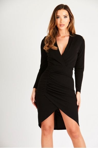 Black Long Sleeve Ruched Midi Dress